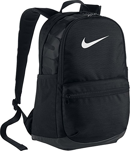 Nike Brasilia Medium Backpack, Black/Black/White, Misc - Nike College Bags