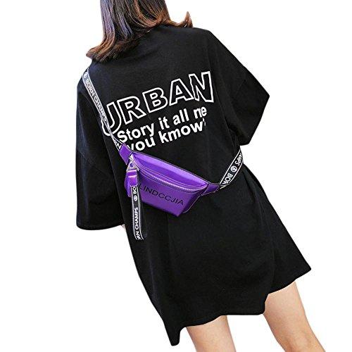 Leather PU Bolso para Blanco Cruzados Mujer Morado Aolvo gSU5w