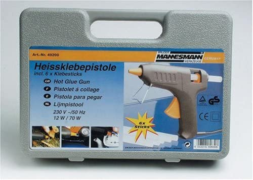inkl 6 Klebesticks Mannesmann M49200 Heissklebe-Pistole mit Sticks im Koffer
