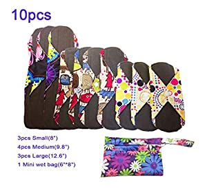 Reusable Cloth Menstrual Pads Reusable Bamboo Charcoal Sanitary Napkins, Sanitary Pads,Women Breathable Sanitary Napkins Set of 10 Pieces with 1 Mini-Wet Bag