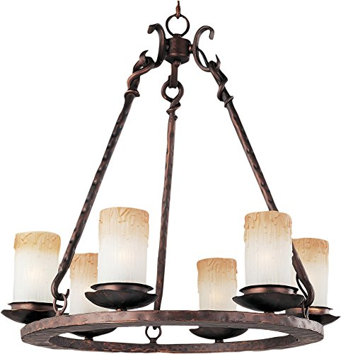 (Maxim 10975WSOI Notre Dame 6-Light Chandelier, Oil Rubbed Bronze Finish, Wilshire Glass, CA Incandescent Incandescent Bulb , 1W Max., Dry Safety Rating, 3500K Color Temp, Lutron CL or Leviton LED Dimmable, Glass Shade Material, 498 Rated Lumens)