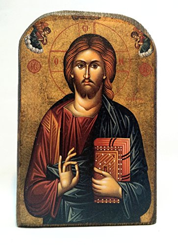(Handmade Wooden Greek Christian Orthodox Mount Athos Icon of Jesus Christ /Mp2_5)
