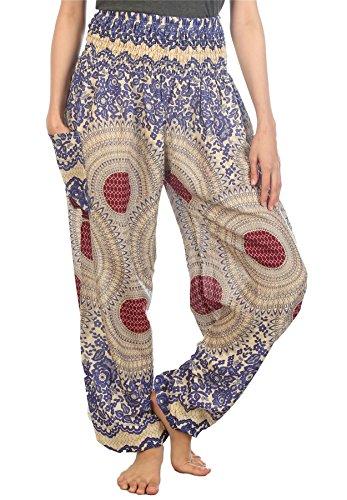 Lofbaz Womens Rose Flower 3 Smocked Waist Harem Pants Blue Size S