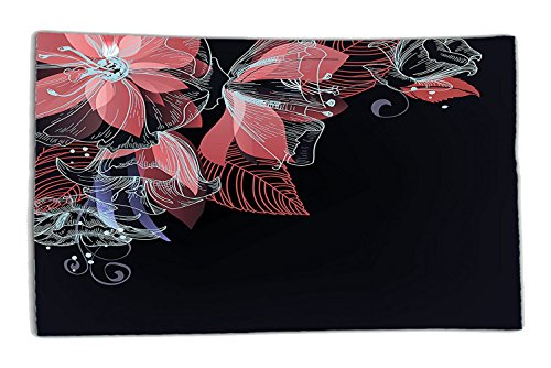 Interestlee Satin drill Tablecloth,Turquoise Decor Flowers Buds Leaf At The Top Left Corner Retro Art Festive Season Celebrating Theme Dining Room Kitchen Rectangular Table Cover Home ()
