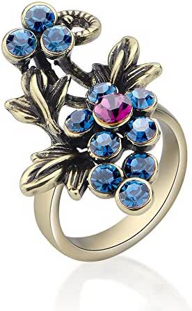 Mytys Retro Vintage Gold plated Sapphire Crystal Wisteria Flowers Rings