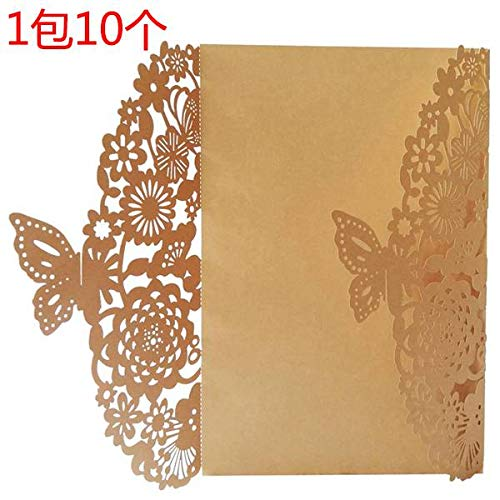 (Box Candy - 10pcs Set Delicate Carved Butterflies Romantic Party Invitation Card Envelope Invitations - Communion Adult Inserts Navy Invitation Unicorn Graduation Shower Mermaid Baby First)