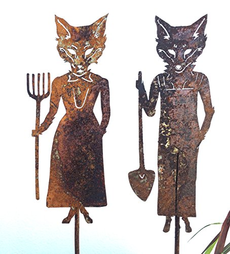 Mr and Mrs Fox Metal Art Garden Stakes American Gothic Home Décor Sold as Pair