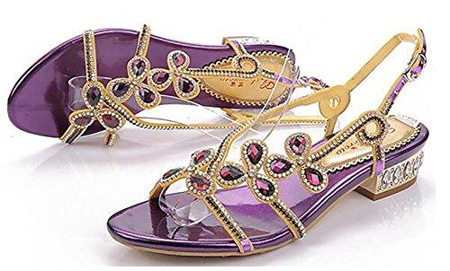 Mujeres Cuero Color Diamante Punta Abierta Hecho A Mano Puro Bajo De Tacón Vestir Sandalias 2