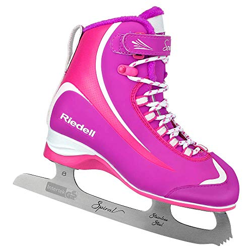 Skates Soft Boot Ice - Riedell Skates - 615 Soar Jr - Youth Soft Beginner Figure Ice Skates | Pink & Purple | Size 1 Junior