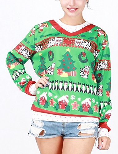 Pretty321 Women Girl Cute Cats Red Hearts Tree Christmas Shirt Sweatshirt Green Amazon
