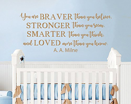 Winnie The Pooh Wall Decal Quote You Are Braver Than You Believe Wall  Decals Quotes Wall
