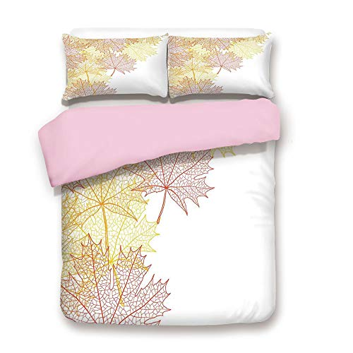 Pink Duvet Cover Set,Twin Size,Pattern with Maple Tree Fall Leaves Skeleton Dried Golden Forms Halloween Decoration Decorative,Decorative 3 Piece Bedding Set with 2 Pillow Sham,Best Gift For Girls Wom