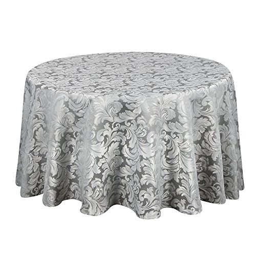 ColorBird Scroll Damask Jacquard Tablecloth Spillproof Waterproof Fabric Table Cover for Kitchen Dinning Tabletop Linen Decor (Round, 90 Inch, Silver - Classic Damask Home Tablecloth