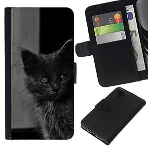 Planetar® Modelo colorido cuero carpeta tirón caso cubierta piel Holster Funda protección Para LG Nexus 5 D820 D821 ( Lindo gatito bebé gato gris peludo Bestia )