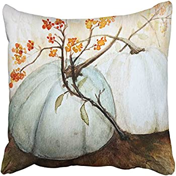 Accrocn Pillowcases Decorative White Autumn Pumpkins Fall Watercolor Blue Gray Cinderella Pumpkin Throw Pillow Case Cases Cover Cushion Covers Square Sofa Size 18x18 Inches One Side