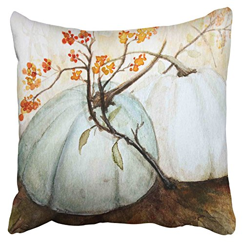 Accrocn Pillowcases Decorative White Autumn Pumpkins Fall Watercolor Blue Gray Cinderella Pumpkin Throw Pillow Case Cases Cover Cushion Covers Square Sofa Size 16x16 Inches Two Side