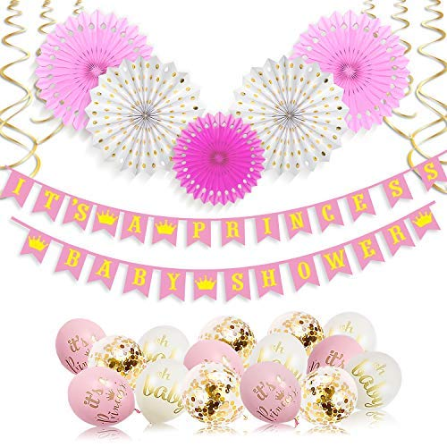 Its A Princess Baby Shower Decorations for Girl - 55 Piece Girls Baby Shower Decoration Pink/White/Gold/Rose Gold - Girls Baby Shower Banner, Balloons, Princess Theme - Its a Girl Decorations Xonara -