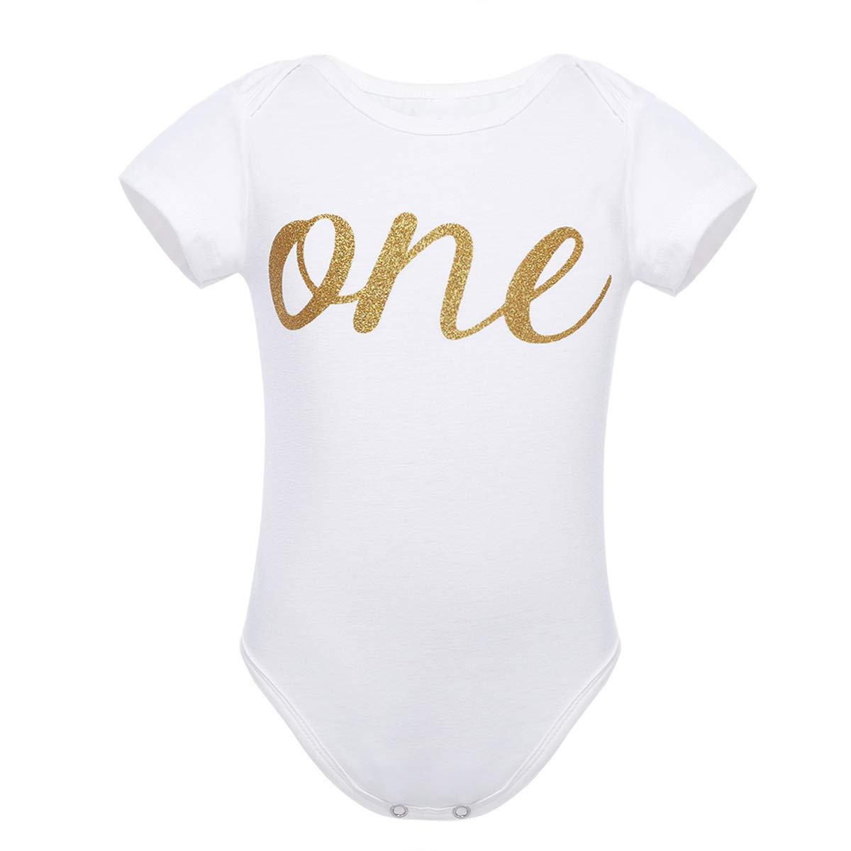 YiZYiF Pagliaccetto Body Neonata Manica Farfalla//Corta T-Shirt in Cotone Stampa Lettera Glitter One//Corona Pigiama Romper Tutine Jumpsuit Outfits Bambini Estate Abiti Compleanno