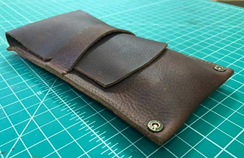 Leather Cigar Case Pouch | Kodiak | Handmade | Full-Grain Leather | Holds 3 Standard Cigars | Mahogany | Shotgun Shell-Style Rivets