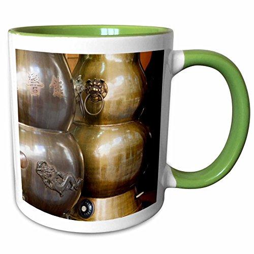 3dRose Danita Delimont - Hong Kong - Asia, China, Hong Kong. Antique brass herbal tea urn - AS09 JEG0047 - Julie Eggers - 15oz Two-Tone Green Mug (mug_132502_12)