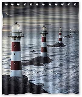 Custom Polyester Fabric Waterproof Bathroom Shower Curtain 60 X 72 Lighthouses Sunset