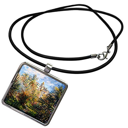 (3dRose VintageChest – Masterpieces - Claude Monet – The Moreno Garden at Bordighera - Necklace with Rectangle Pendant)
