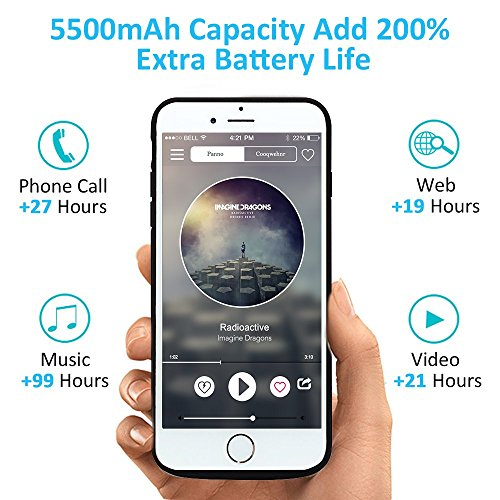 Bovon Funda Bateria iPhone 6 / 6S / 7 / 8, 5500mAh Bateria Externa Recargable Power Bank, Cargador Portatil Protector Estuche de Carga para iPhone 6 / 6S / 7 / 8 (4.7) - Negro Negro