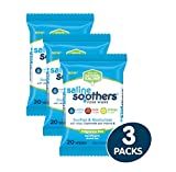 Saline Soothers Moisturizing Tissue for Face, Nose, Hand and Eye Wipes, Boogie Wipe, Allergy Relief, Unscented, 60 Wet Wipes (Pack of 3)