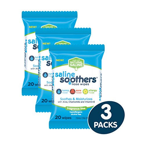 (Wet Wipes for Face, Nose, Hands and Eyes, Unscented Pack of 3 by Saline Soothers, Moisturizing Tissue, Boogie Wipe, Allergy Relief, 60 Wet Wipes)