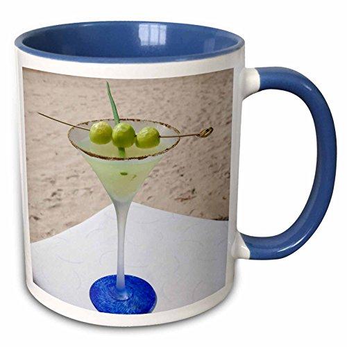 3dRose 89168_6 Melon Martini cocktail-US10 GJO0622-Greg Johnston Two Tone Blue Mug 11 oz White