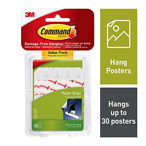 Command Poster Hanging Strips Value Pack, Small, White, 60-Strips (17024-60ES) (Best Way To Strip Wallpaper Off Walls)