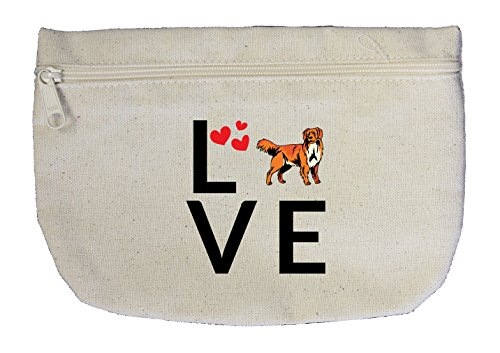 Canvas Zipper Bag Love Hearts Nova Scotia Duck Tolling Retriever Style In Print (Duck Nova Heart Scotia)
