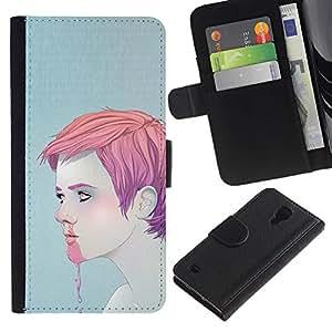Stuss Case / Funda Carcasa PU de Cuero - Nariz del muchacho del hombre de hielo rosado Sangrado Face Cream - Samsung Galaxy S4 IV I9500