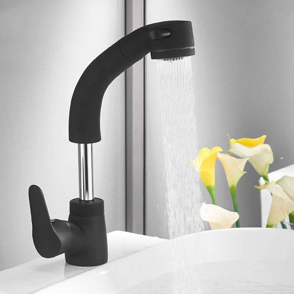 Black FZHLR Pull Out Kitchen Faucet Chromed Polished Black gold Brass Basin Mixer Tap Kitchen Sink Basin Faucets,Chrome
