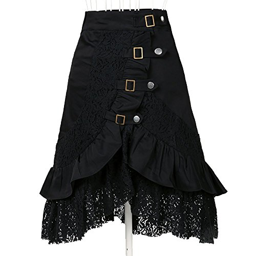 Vellhater Fashion Rocking Punk Gothic Clothing Retro Cotton Lace Skirts for Women (Black - Indie Clothing Punk