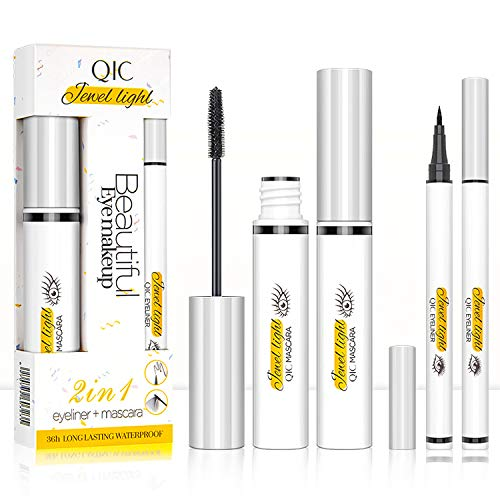 4D Silk Fiber Lash Mascara & Liquid Eyeliner Set, Long Lasting Waterproof, Lengthening Thickening Eyelashes, Smudge-proof, Natural Formula, Best Volumirous Eyelash Makeup