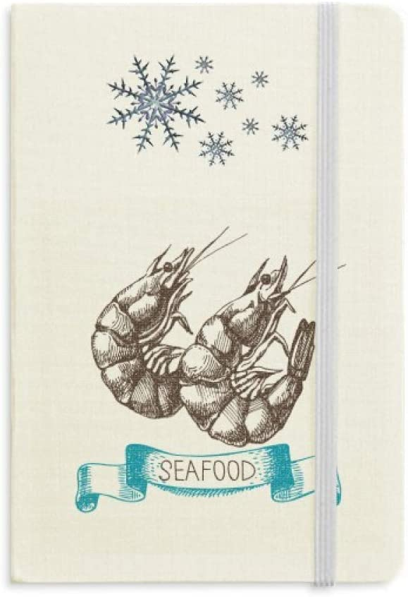 Seafood Shrimp Marine Organism Notebook Thick Journal Snowflakes Winter