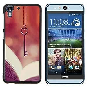 Dragon Case - FOR HTC Desire EYE M910x - love key heart book reading vignette - Caja protectora de pl??stico duro de la cubierta Dise?¡Ào Slim Fit