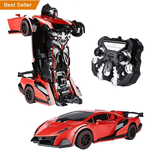 SainSmart Jr.Transform Car Robot, Remote Control Robot Car with One Button Tranforming and Realistic Engine Sound(Red) (Jr Rc Control)