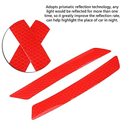 4pcs Car Reflective Safety Stickers, Keenso Auto Wheel Eyebrow Bumper Decals Self Adhesive Safety Warning Caution Stickers(Red): Automotive