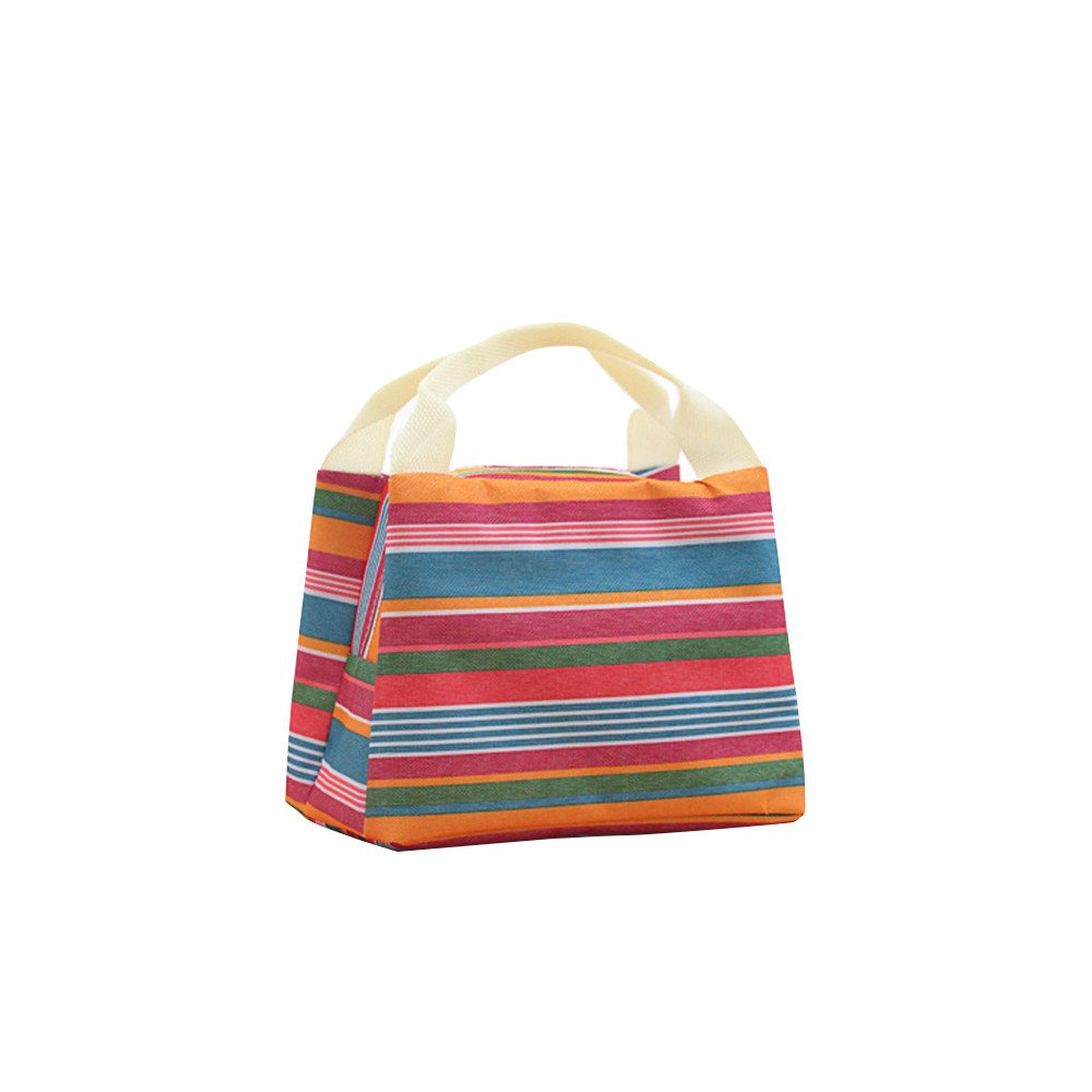 Lunch bags Hot Sale# Lunch Boxes Striped insulation bags Tote Storage Picnic Bags for Women Ladies Student Duseedik Clearance (blue)