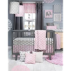 Glenna Jean Sweet Potato Swizzle Girl's Crib Bedding Set Quilt, Dot Sheet and Crib Skirt, Grey/Pink/White