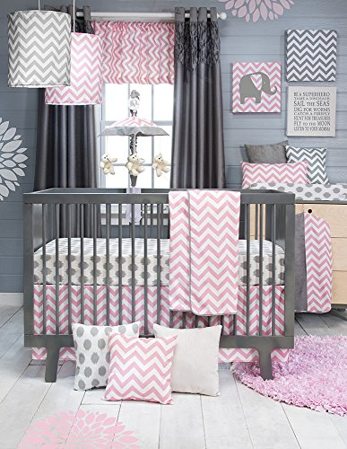 Cotton Crib Jean Skirt Glenna (Sweet Potato Swizzle Quilt, Dot Sheet and Crib Skirt, Grey/Pink/White)