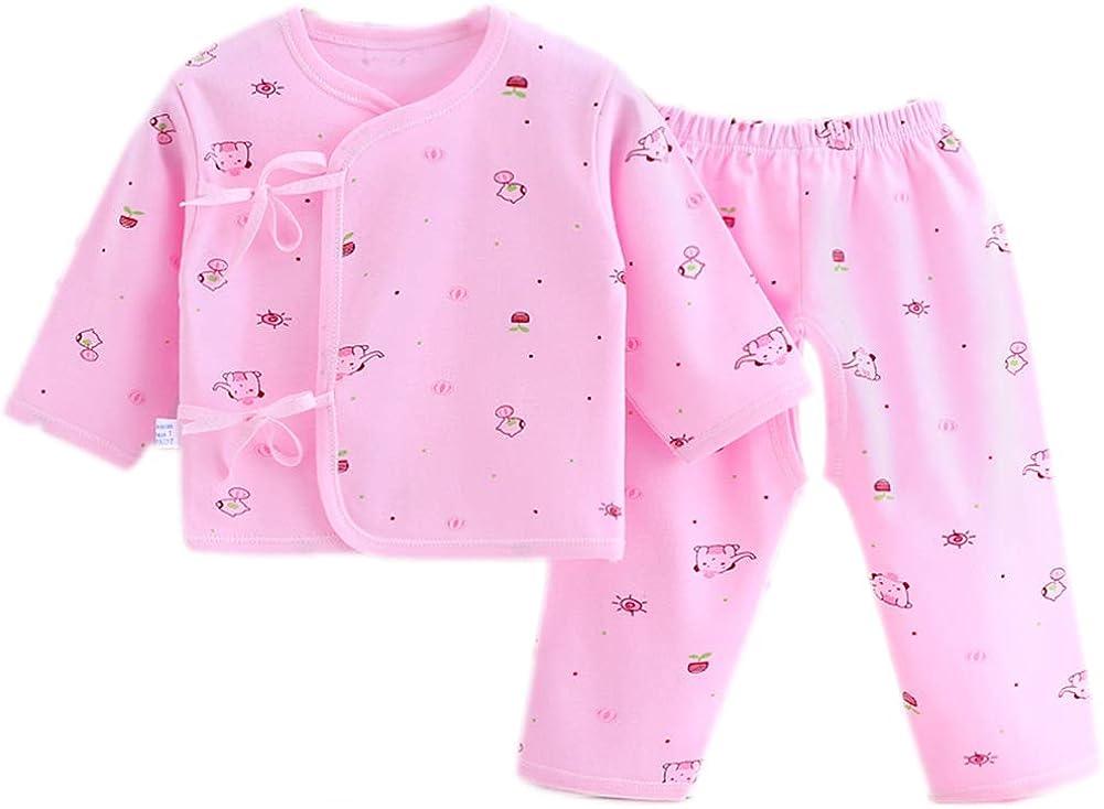 2PCS Newborn Layette Set Infant Boys Girls Baby Cotton Clothes 0-6M Sleepwear Suit Essentials Outfit Sets