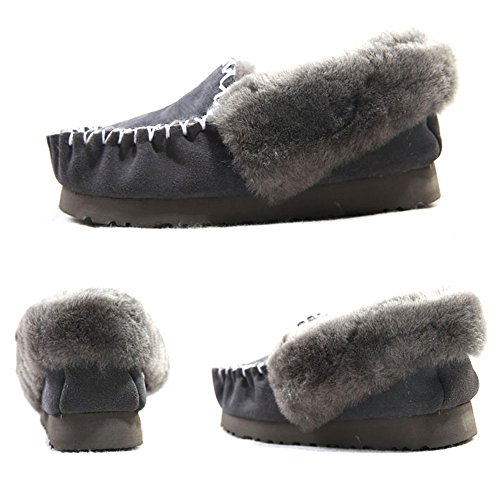 EnllerviiD Womens Fur Home Moccasins Slippers Winter Slip On Flat Suede Loafers Cozy House Shoes Grey EHl59