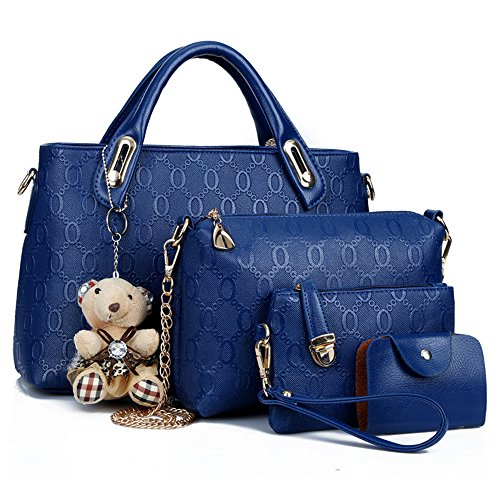 Satchel 4 Bag Women Set Bag Bag Set Shoulder Top Purse Blue Tote Handle Bags Handbags Piece FHwRtwqS