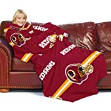 NFL Washington Redskins Comfy Throw Blanket with Sleeves, Stripes Design