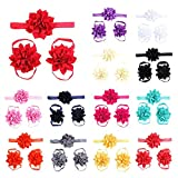 Lisli® 3sets/9pcs Baby Girl's Kids Flowers Foot Band Ties Barefoot Sandals Shoes and Headband