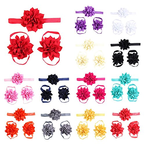 Price comparison product image Lisli® 3sets / 9pcs Baby Girl's Kids Flowers Foot Band Ties Barefoot Sandals Shoes and Headband