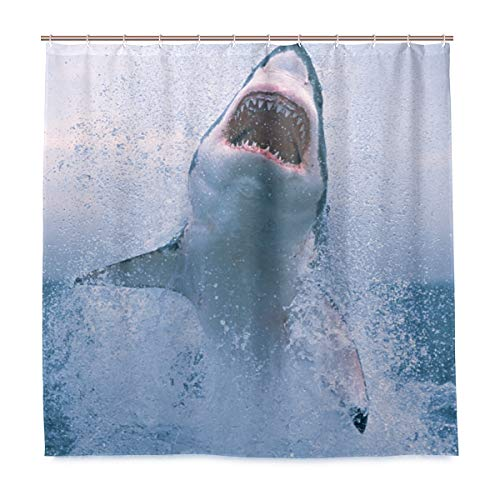 MESKERIA Shark Jumping Out of Water Shower Curtain Liner Waterproof Polyester Fabric Bathroom Shower Curtain Fabric Shower Curtain 12 Hooks 66 x 72 inches (A Shark Jumping Out Of The Water)